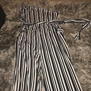 Pants - Black & White Striped Jumpsuit